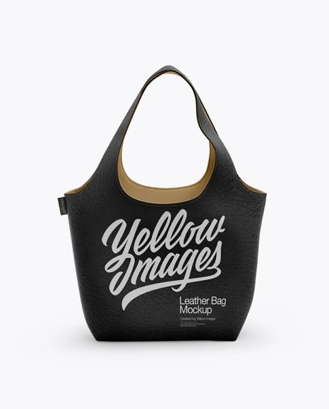 Leather Bag Mockup Front View In Apparel Mockups On Yellow Images Object Mockups Bag Mockup Mockup Leather Cosmetic Bag