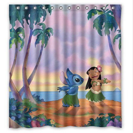Deyou Carton Lilo And Stitch Shower Curtain Polyester Fabric Bathroom Shower Curtain Size 66x72 Inches Disney Bathroom Lilo And Stitch Shower Curtain Polyester