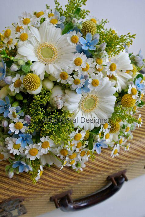 Summer brides bouquet, white Germini, mini Gerbera, Daisy, Solidago, shells, Freesia, English sea side wedding.