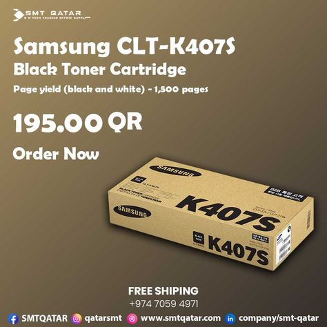Samsung CLT-K407S Black Toner Cartridge with free shipping all over Qatar.