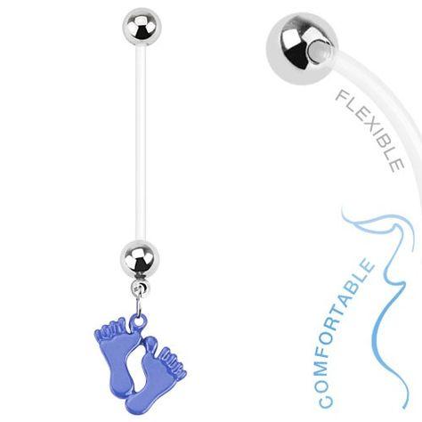 Piercing nombril multi cristal femme enceinte bioflex flexible