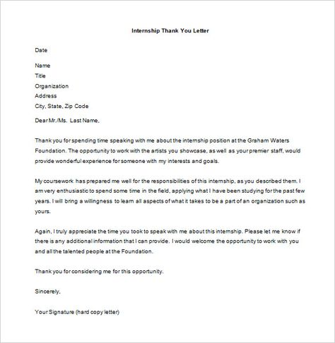 internship thank you letter free word excel pdf format after job - internship thank you letter