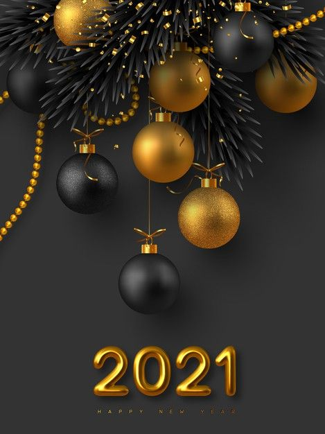 2021 New Year Sign Realistic 3d Golden Metallic Numbers Glitter Balls Fir Tree Branches And Golden Beads With Tinsel Christmas Background Happy New Year Pictures Happy New Year Wallpaper New Year Pictures