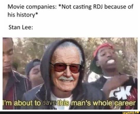 """Movie companies: *Not casting RDJ because of his history"""" Stan Lee: - iFunny :) Funny Marvel Memes, Marvel Jokes, Dc Memes, Avengers Memes, Marvel Actors, Disney Marvel, Marvel Avengers, Marvel Comics, Marvel Universe"""