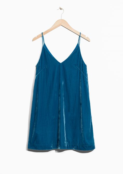fcba2eeebcca   Other Stories image 1 of Strap Velvet Dress in Turquoise ...