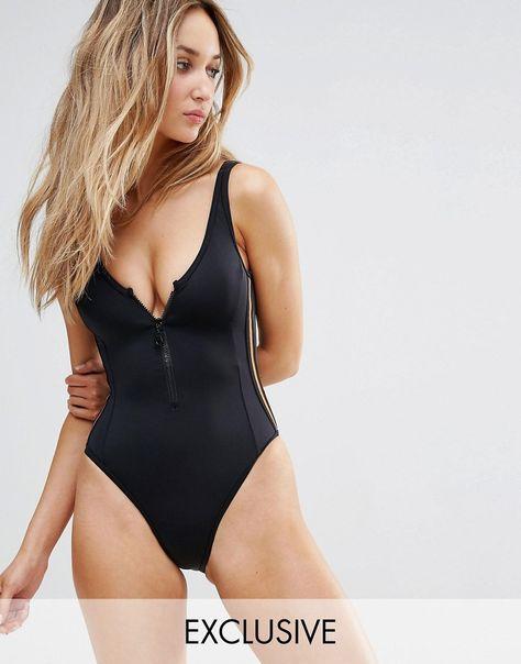 e9865c0d52 Buy it now. Free Society Sporty Zip Swimsuit - Black. Swimsuit by ...