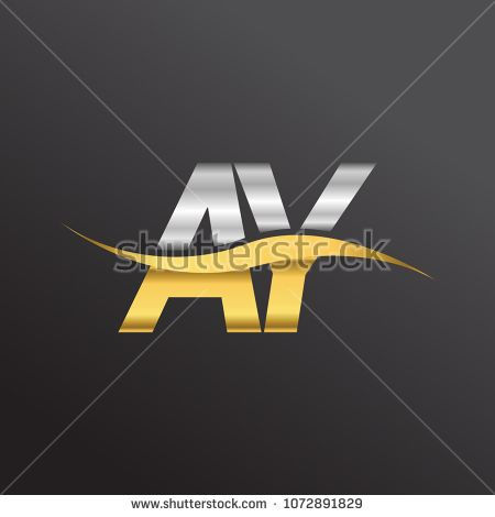 initial letter logo AY company name gold and silver color swoosh design.  vector logotype for business and company identity.