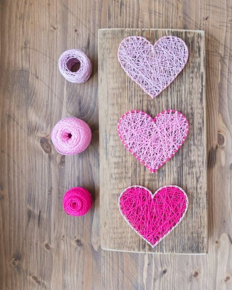 Modern Pink Heart String Art Wall Decor for minimalist