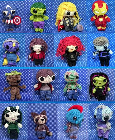 Once Upon A Crochet — Group photo of all my Marvel children! | 450x369
