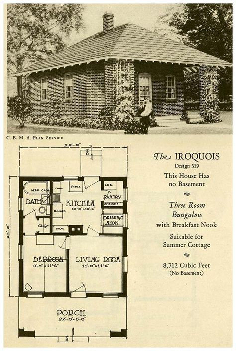 1927 Brick Houses The Iroquois Great For When There Are Only 2 D Vintage House Plans Brick House Plans Brick House
