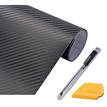 Foshio 3d Black Carbon Fiber Vinyl Film Wrap 12 Quot X 60 Quot Sheet With Lockable Utility Knife And Felt Edge Sque Car Decals Vinyl Carbon Fiber Vinyl Vinyl