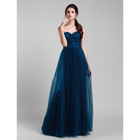A-line Floor-length Tulle Convertible Dress