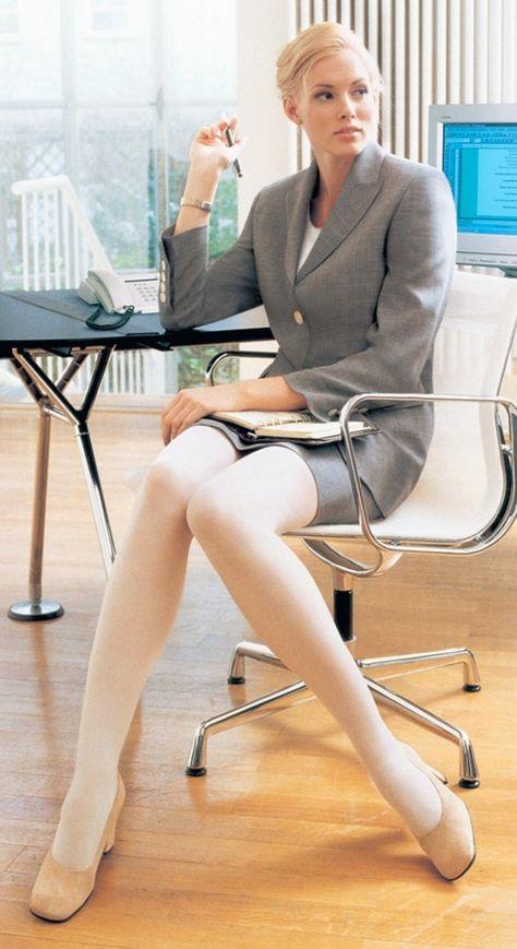 Blonde pantyhose business milf | Weiße strumpfhose
