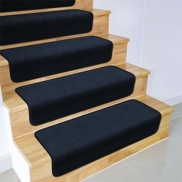 Set Of 12 Overstep Attachable Carpet Stair Treads Navy Blue | Rug Treads For Steps | Turquoise | Stair Runner Matching Landing | Covering | Outdoor Carpet | Wood