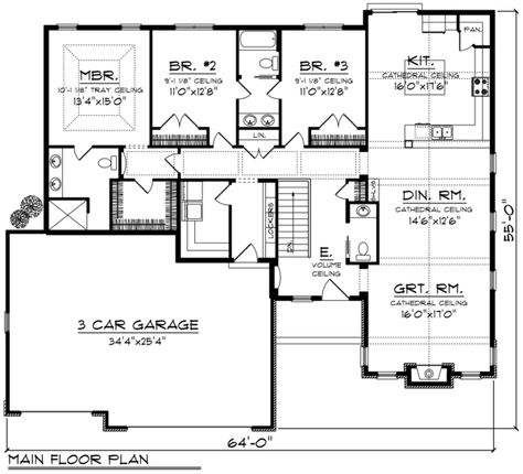 Ranch Style House Plan 3 Beds 2 5 Baths 2123 Sq Ft Plan 70 1196