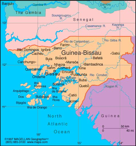 GuineaBissau Became The Portuguese Colony Of Portuguese Guinea In - Guinea bissau clickable map