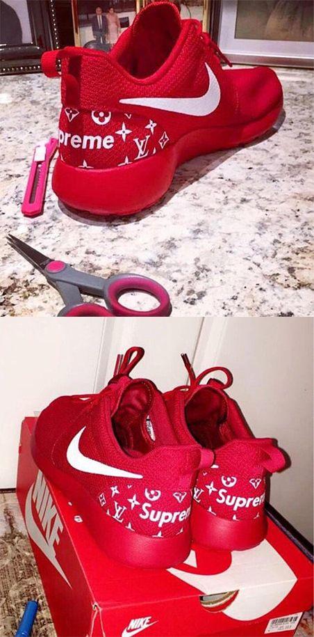 new concept 3e61b b4542 All Red Custom Supreme LV Nike Roshes Red & White Painted ...
