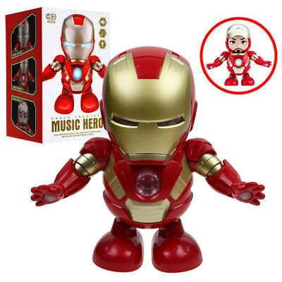 Iron Man Spiderman Dance Hero Avengers Figure Robot Toy Dancing With Light Music