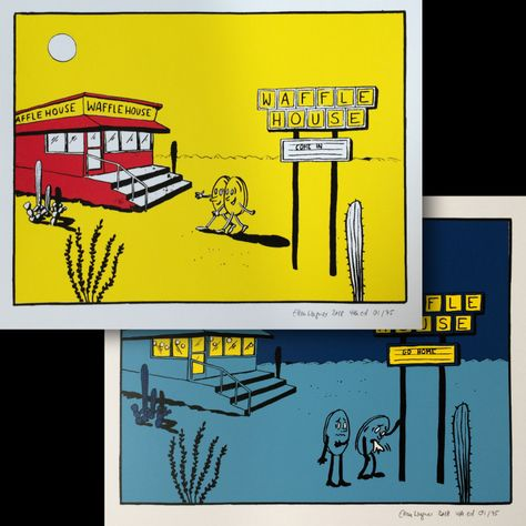 Ellen Wagner Artwork We Need These Prints Tucson Waffle House Day And Night Waffle House Day Night