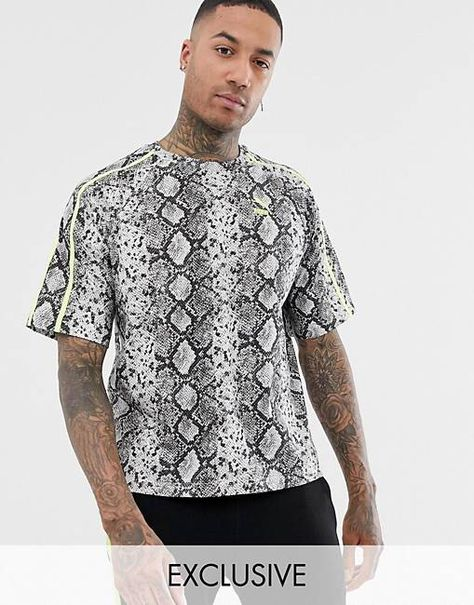 9b1540c2a67c Puma t-shirt in all over snake print in grey Exclusive at ASOS | ASOS