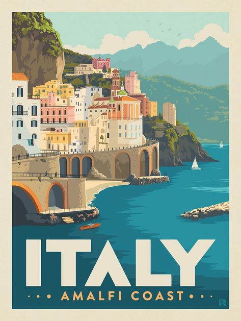 Plakat Design, Room Posters, Art Deco Posters, Amalfi Coast, Amalfi Italy, Photo Wall Collage, Vintage Travel Posters, Poster Prints, Vintage Italy