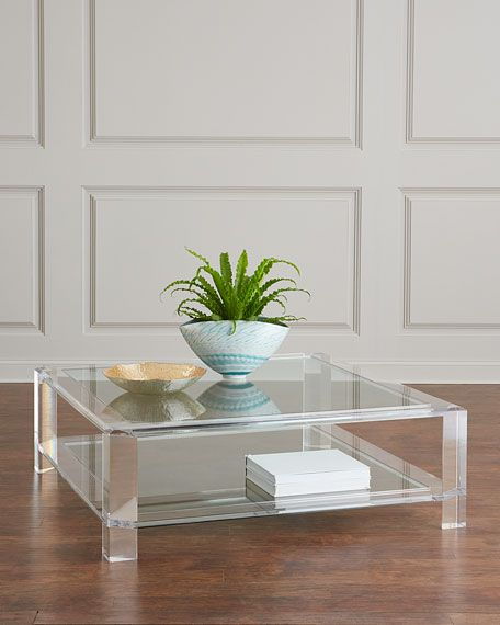 Interlude Home Landis Acrylic Square Coffee Table Acrylic Coffee