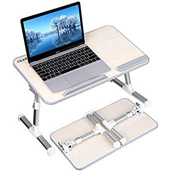 Gladle Laptop Bed Table Portable Height And Angle Adjustable Lap Standing Desk For Bed And Sofa Foldable Computer Desk Notebook Tray Breakfast Bed Tray For Co