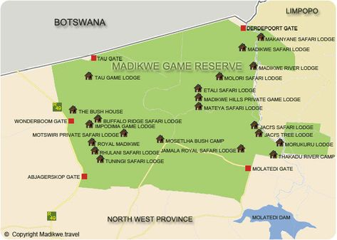 North West Province Map | Travel Africa | Game reserve south ...