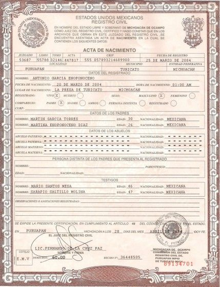The Federal Electoral Institute (Spanish Instituto Federal - best of translate mexican birth certificate to english template