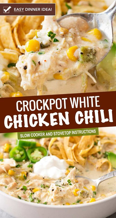 This contest-winning crockpot white chicken chili is made easy in the slow cooker and has just the right amount of spice to warm up your night chickenchili whitechickenchili chili chicken easyrecipe dinner comfortfood slowcooker crockpot Slow Cooker Chili, Slow Cooker Recipes, Soup Recipes, Recipes Dinner, Slow Cooker Dinners, Recipies, Cooking Recipes, Chef Recipes, Salad Recipes
