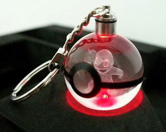 Articuno Pokemon 3D Crystal Ball Key Chain LED Light Keychain Keyring Gift toy