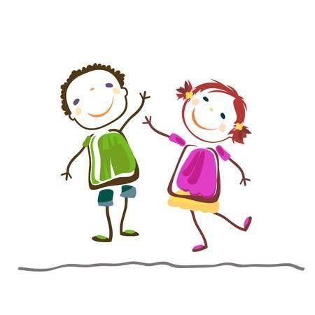 Piccolo Ragazzo E Ragazza Bambini Felici Arte Di Bambino Immagini Ragazzo