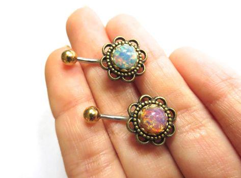 Verre opale fleur Rose Daisy nombril anneau nombril Piercing Barbell Bronze Stud Bar Rose bleu