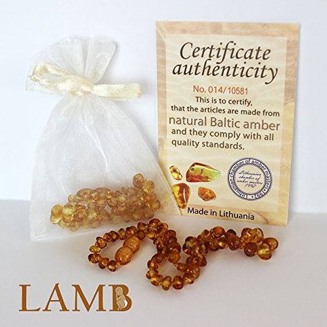 """From Ad.: """"Best Baltic Amber Teething Necklace For Baby (Honey) - Smooth Amber Beads Provide Natural Pain Relief to Soothe And Comfort A Teething Baby""""."""