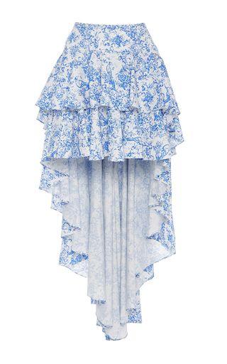 This **Caroline Constas** Giulia Asymmetric Ruffled Skirt features a high rise…