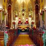 Christmas wedding in a church