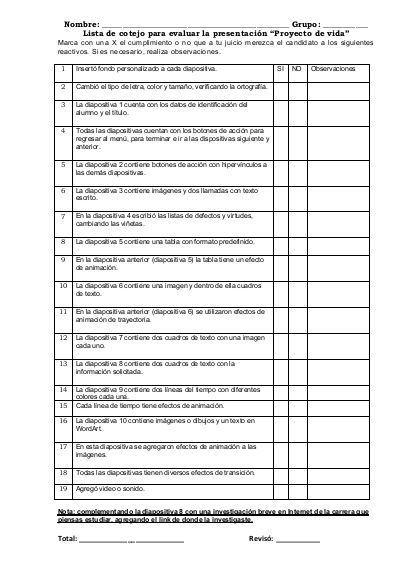Lista De Cotejo Para Evaluar Proyecto De Vida Ejercicios De Calculo Proyecto De Vida Ficha De Observacion