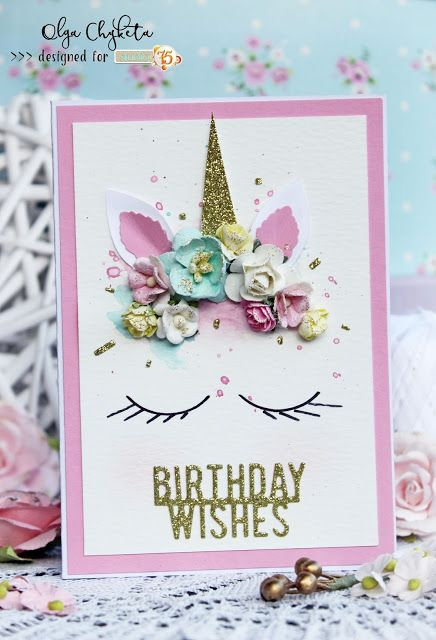 Super Sweet Card With Unicore Made Using Studio75 Primo Paper Collection Unicorn Birthday Cards Birthday Card Craft Birthday Card Drawing