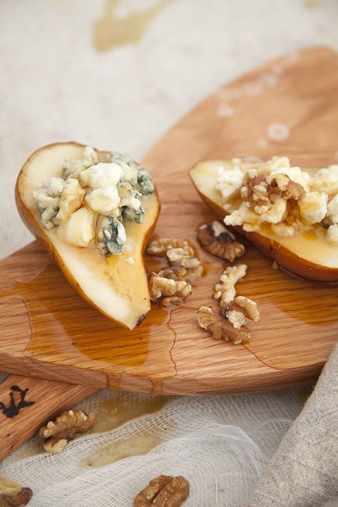 Honey and Cheese Stuffed Sautéed Pear Halves with walnuts. Yum!