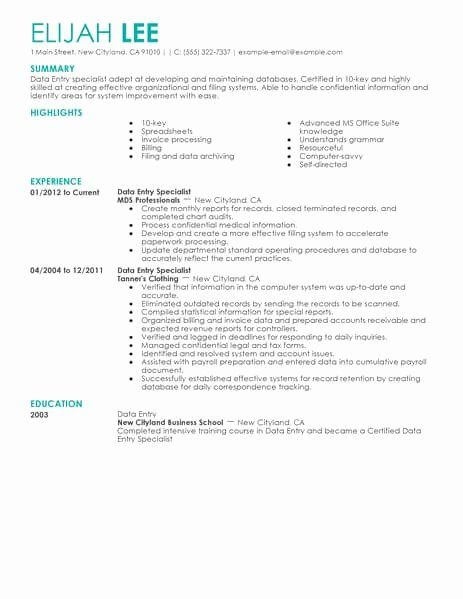 Data Entry Resume Example New Best Data Entry Resume Example In 2020 Resume Skills Free Resume Examples Resume Examples