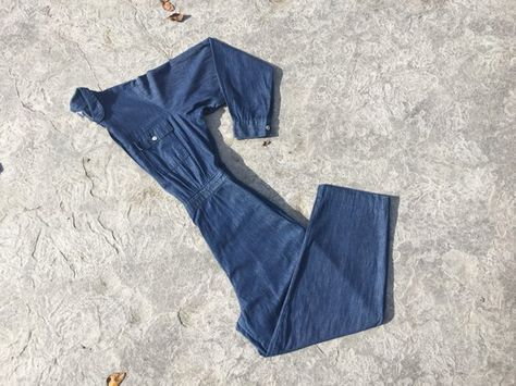 ab1864ef6f20 VINTAGE chambray coveralls denim jumpsuit dark blue lightweight soft flight  suit long sleeves loose