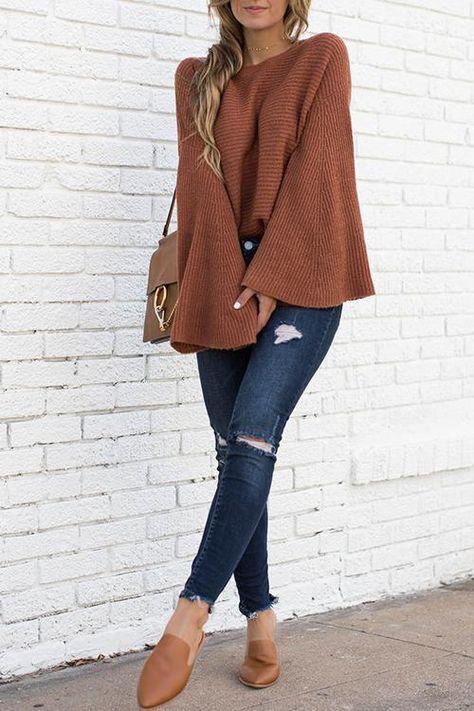 Trumpet Sleeves Sweater - L brown