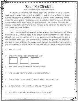 Electric Circuits Reading Comprehension And Questions Experiment Free Sample Reading Comprehension Electric Circuit Comprehension