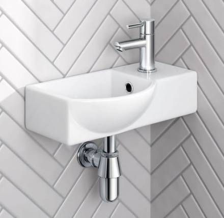 Small Compact Tiny Bathroom Cloakroom Basin Sink Wall Hung Curved with Fixing