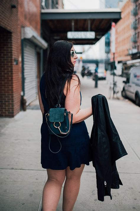 Seen on Effortlessly with Roxy :: Blank NYC Vegan Leather Jacket, JustFab Faux Suede Flare Dress, Chloe Faye Mini Backpack, J. Visit the site to see the full look!