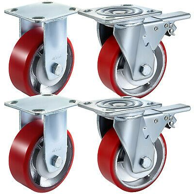 """2/""""Inch Heavy Duty Black Rigid Caster Wheel with 220 lbs Load Rating-Pack of 10"""