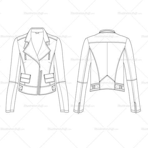 Women's Leather Jacket Fashion Flat Template