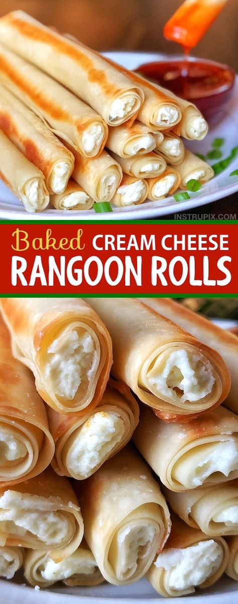 Easy Baked Cream Cheese Rangoon Rolls This recipe is so easy and delicious! It… Easy Baked Cream Cheese Rangoon Rolls This recipe is so easy and delicious! It's just like Panda Express, only with a fun little twist. Serve them… Continue Reading → Fingers Food, Chicken Fingers, Good Food, Yummy Food, Yummy Snacks, Think Food, Yummy Appetizers, Asian Appetizers, Simple Appetizers