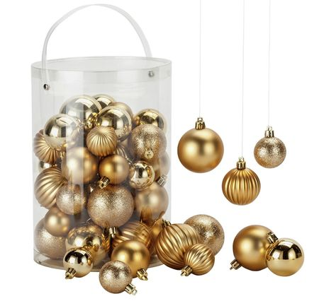 Buy Home 50 Piece Bauble Pack Gold At Argos Co Uk Your Online Shop For Chris Christmas Tree Decorations Gold Christmas Tree Decorations Gold Christmas Tree