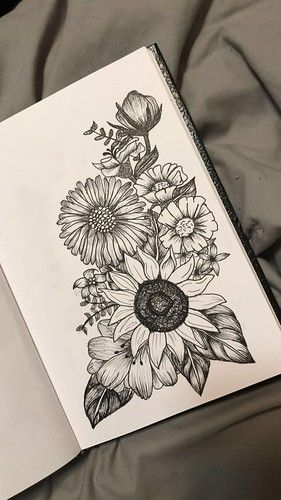 Flowers Drawings Inspiration Passion Flower Above Sunflower And Poppies On The Right H In 2020 Black And White Flower Tattoo Pencil Art Drawings White Flower Tattoos